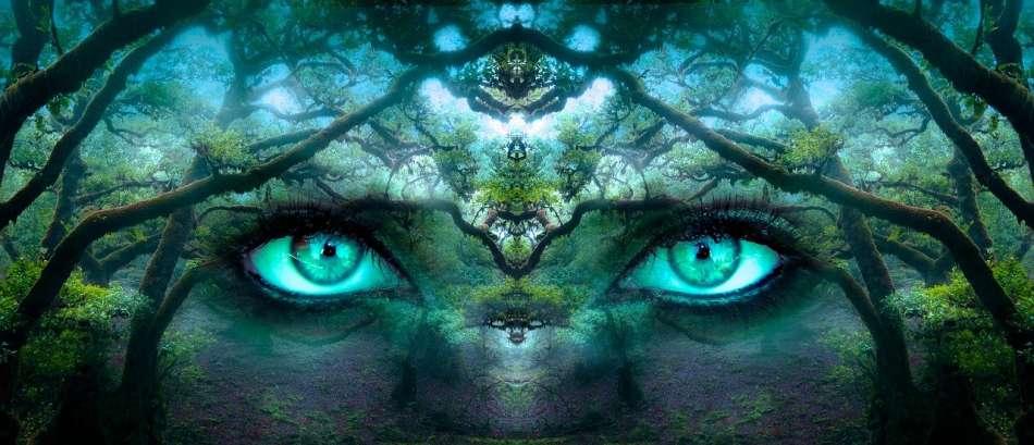 Magische ogen kijken naar jezelf in de truffelceremonie